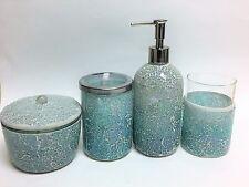 Nuevo 4 Piezas Aqua Azul Iridiscente Mosaico de Vidrio Dispensador Jabón + Vaso