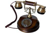 Telefono Fijo Vintage de Maderay Metal Antiguo Retro con Cable y Disco de Marcar