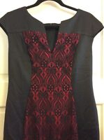 New Women's Dress 10 M/L Black & Red Sexy Lace Overlay Cocktail Career Summer *+