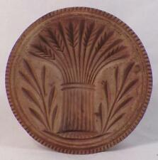 Antique Butter Mold Stamp Wood Wheat Sheaf Carved Folk Art Country Large Nice #1