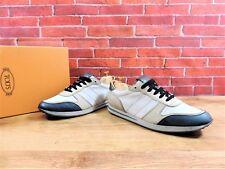 Tods Trainer Sneakers UK 7.5 US 8.5 EU 41.5 Beige Nubuck Blue Leather