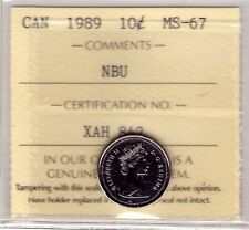 1989 Canada 10 Cent NBU ICCS MS-67, Very Affordable for New Hobbyist