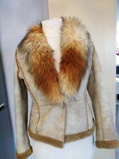 Per Una Italia Faux Sheepskin Jacket Large Fur Collar Size 10 Ladies Womens