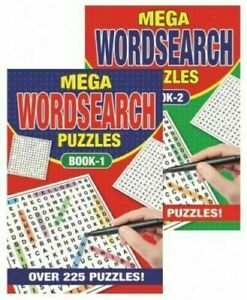 WORD SEARCH Mega Puzzle Books Set of 2 A5 Paperback 225 Puzzles each.Book 1 & 2