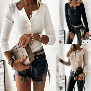 Women Lady Button Neck Ribbed Slim Fit Long Sleeve Blouse Casual Jumper Top