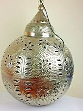 Moroccan Metal Iron Hanging Pendant Lamp B.Ball Nickel 76 x 76 x 86 cm New Large