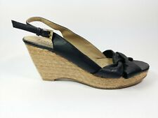 Lotus Black Leather Wedge Heel Slingback Sandals Uk 8