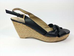 Lotus Black Leather Wedge Heel Slingback Sandals Uk 8