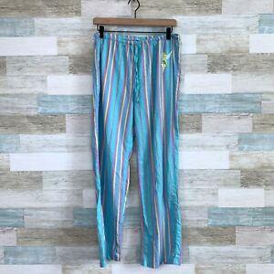 Disney Tinker Bell Pajama Pants Blue Striped Lounge PJs Lightweight Womens Large