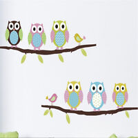 wall stickers Home Cute Colorful Owls /Flower/Tree nursery-children /baby/Kid G6