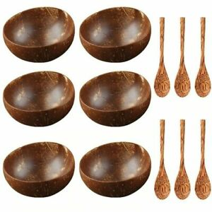 Coconut Bowl & Spoon Set Of 6 Small Mini 100%Natural Coconut Shell Handcrafted