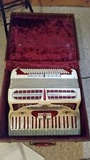 Vintage  Accordian  Mother Of Pearl Keys With Hard Case