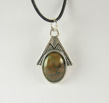 Green Turquoise Pendant Necklace .925 Sterling Silver USA Made Mens Jewelry SW