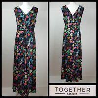 Together Black Floral Contrast Print Front Back Maxi Dress Size 14