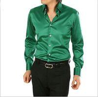 Dark Green Men's Wedding Shirts Long Sleeve Silk-Satin Prom Groom Men's Shirts