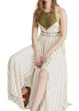 Free People Harper Halter Maxi Dress Green/Ivory Size L