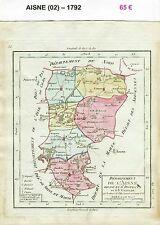 Dépt 02 - XVIII ème Carte de l'Aisne Superbe Gravure sur Cuivre Aquarellée 1792