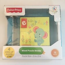 Fisher-Price Wood Puzzle Blocks Four Sides - 18 Months - New Sealed