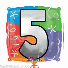 "Anagram HAPPY 5th BIRTHDAY 5 Today Square Foil Helium Balloon 18"" 45cm"