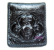 CROCODILE HORNBACK LEATHER HARD ROCK HANDMADE MEN'S BIFOLD BLACK WALLET