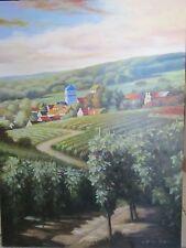 "JC SEO Beautiful,Original Oil Painting Vineyard w/ town+Landscape  30x40""Amazing"