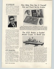 1956 PAPER AD Article Revell USS Boston Guided Missile Cruiser