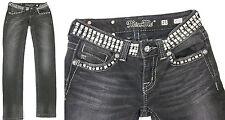 MISS ME Jeans JP513055 Black Super Studded Skinny Jeans Crystals SIZE 25 x 29