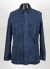 RARE - $4395 LORO PIANA KIDSKIN SUEDE LEATHER Shirt Jacket - Blue - M Medium