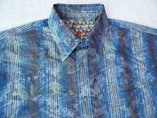 Psychedelic Purple Blue Leaves Striped Casual Club Lounge Shirt - Mens Large L