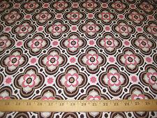 "Brown/Hot Pink W/ Foil Beautiful Print 2 Way Stretch Poly Lycra Fabric 58"" W BTY"