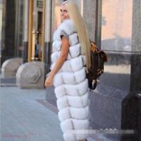 Real Fur Women's Sleeveless Maxi Add Thick Parka Vest Winter Warm Jacket Coat
