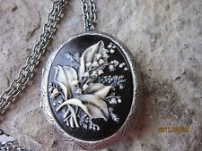 HAND PAINTED LILY OF THE VALLEY ANTIQUED SILVER PLATED LOCKET  - FLORAL, UNIQUE
