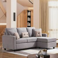 Linen Fabric Sectional Sofa L-Shaped Couch W/Reversible Chaise for Small Space