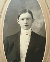 "Antique Cabinet Card Photo of a Pale Young Man Middletown, NY 1890's 7"" x 3 1/4"""