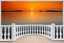 Huge 3D Balcony Sunset Over Lake Wall Stickers Mural Wallpaper S72