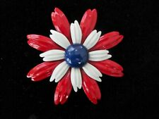 VINTAGE RED WHITE BLUE ENAMEL FLOWER BROOCH RETRO 60'S PATRIOTIC PIN EUC