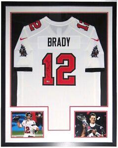 Tom Brady Autographed Nike Buccaneers Jersey Fanatics COA Framed Super Bowl 8x10