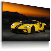 FORD GT YELLOW Super Sport Car SUNSET Wall Canvas Picture ART AU612 MATAGA
