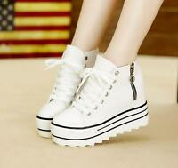 Womens Zipper Sneakers Canvas High Top Platform Lace up Casual Shoes US Size New