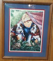 """Home Interiors Picture Boy Dogs Camping Tent English Bulldogs Wood Frame 15""""x18"""""""