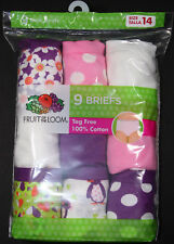 Fruit of the Loom Girl's Cotton Briefs - 9-Pack - Varied Colors - Size 14 - NEW