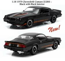 GREENLIGHT 1979 CHEVROLET CAMARO Z/28 BLACK W/ BLACK INT. DIECAST CAR 1:18 12905