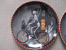 Set of 2 HALLOWEEN Boy Skeleton Riding Bicycle Dessert/Appetizer Plates