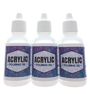 Acrylic Pouring Oil 3 Pack- 100% Silicone Lubricant for Cell Creation in Acrylic