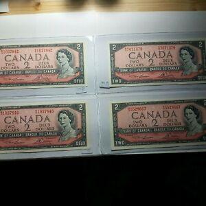 1954 Canada 2 Dollar bills Lot 4  UNC GEM