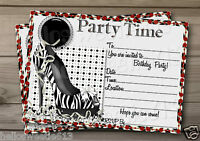 1-10 STILETTO 16TH,18,21,30,40,50 PARTY INVITATIONS, THANK YOU OR BIRTHDAY CARD