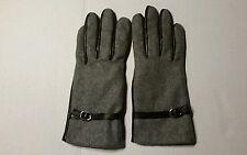 Grandoe Leather Wool  Women's Gloves Sensor Touch Screen   Grey & Black  Medium