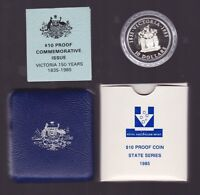 1985 $10 Silver Proof Coin Australia State of Victoria vic
