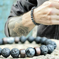 Men Women Natural Stone 8mm Lava Rock Elastic Yoga Beads Diffuser Bracelets Gift