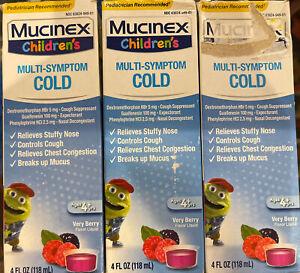 3 PK Children's Mucinex Multi-Symptom Cold Relief Very Berry 4oz EXP 02/22 Distr